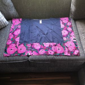 Talbots XS/S Floral 100% Silk Sheer Loose Poncho